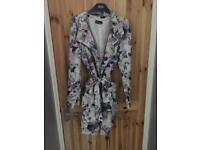 Floral silk coat size L (8-14)
