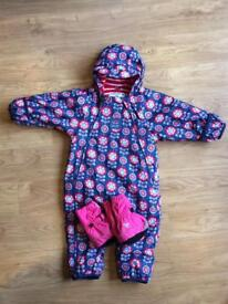 Floral Waterproof Fleece-Lined All in One: 9 to 12 Months