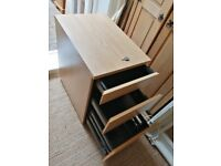 Lockable filing cabinet, side table, on castors, 3 drawer storage, oak effect