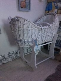 Claire de lune white moses basket and stand