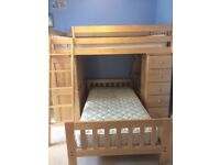 Wooden T-Shaped Bunk Beds with built in desk and storage drawers