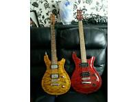 Two PRS higher end copies for sale, one been modded with warman mirrorman pick ups and strap locks.