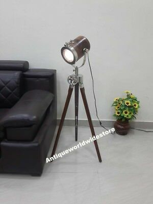 Collectibles Nautical Wooden Floor Lamp Search Light With Tripod Home Decor