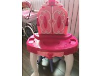 Girls pink toy dressing table lights up sound and stool with it