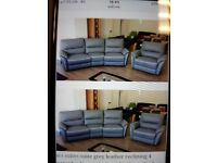 Grey leather sofa and chair for sale