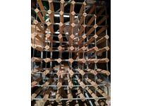 48 hole Wooden and steel wine bottle rack