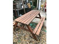 Large six seater garden picnic bench