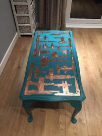 Upcycled glass top coffee table