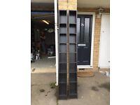 2 x Ikea black brown tall shelves