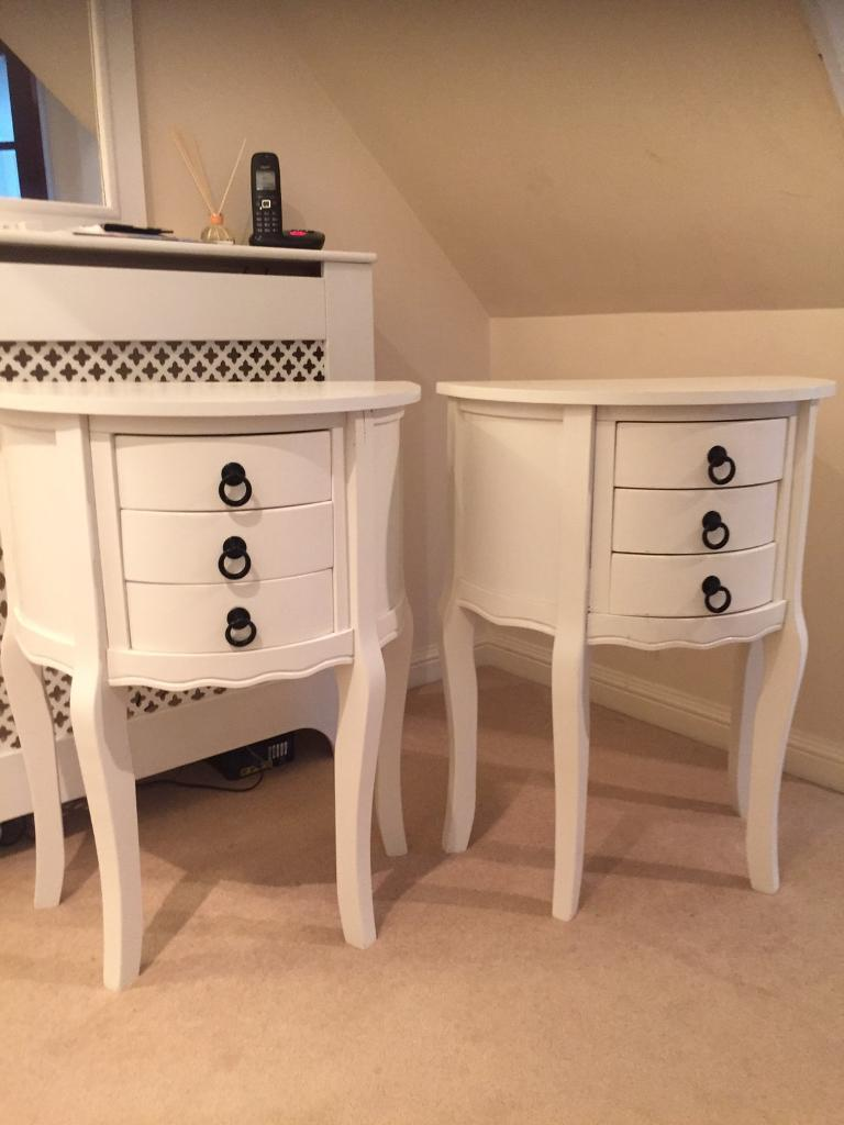 Cream Bedside Tables: DUNELM Shabby Chic Cream Bedside Tables X2