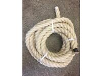 36mm natural sisal decking rope x 8 metres, brand new, garden decking handrail barrier rope