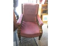 ORNATE VICTORIAN PINK 'FEATURE' OR FIRESIDE UPRIGHT CHAIR. UPHOLSTERED BACK, SEAT & ARMS.DELIVER
