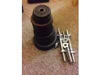 4 dumbbell bars with 70kg plates