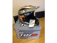 Childs motocross helmet new with tags balaclava and box