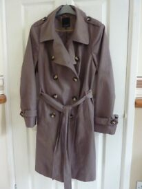 Ladies Trenchcoat by Debenhams in Taupe, size 18, knee length. 57% cotton/43% polyester.