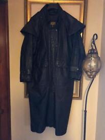 Men's trench/bushmans style leather motorcycle biker jacket cape coat like chaps large