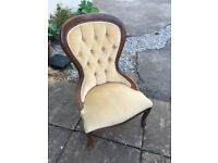 reproduction victorian balloon back chair.