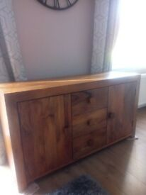 Walnut Mango Wood Sideboard and Cubed nest of tables