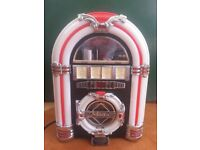 Steepletone MP3 CD ROCK MINI JUKEBOX RETRO CD PLAYER - FANTASTIC LIGHT SHOW - GREAT USED CONDITION