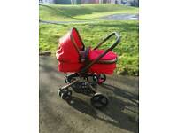 Red orb pram mothercare & moses basket with stand