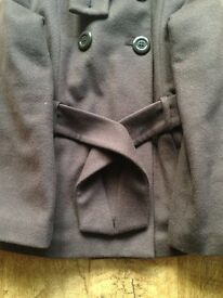 Next Wool Style Brown Coat Size 11/12 years - Hardly Worn Excellent Condition LIKE NEW