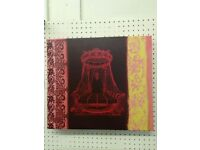 Red Pink Canvas Wall Art Bed Bedroom
