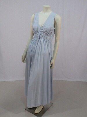 Vintage 60s 70s Miss Elaine Blue Nylon Night Gown Goddess L XL