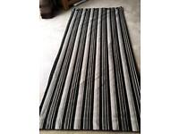 Black and grey stripped curtains