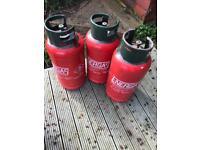 3 empty 19kg propane gas bottles