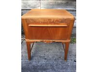 vintage retro antique Danish art deco wooden bedside cabinet storage table chest