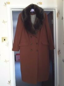 Reduced M&S Ladies brown coat,as new size 20