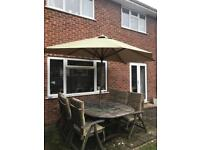 Teak garden furniture table and chairs umbrella cushions