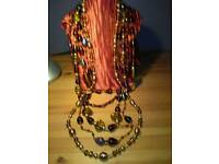 LADIES NEW, FIVE STRAND, HAND MADE, ART GLASS NECKLACE,