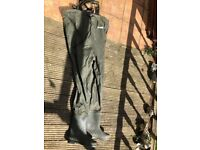 Fladens chest waders size 45 boots, 10.5 uk size almost new hardly used
