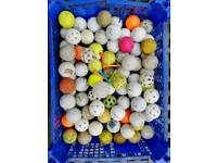 75+used golf balls and a few tees