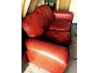 Leather sofa two seater, beautiful mahogany vintage style