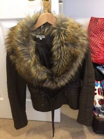 ladies brown leather jacket with fur collar size 12