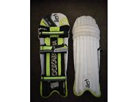 Junior cricket bat and pads for sale.