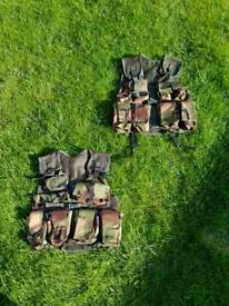 Army camo vests x 2 and gun holster role play dress up kids