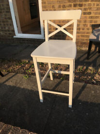 IKEA INGOLF Bar stool with backrest 2 chairs