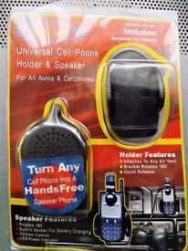 Universal Mobile Phone Holder with Speaker - Dash Vent mount. LED power ind.Volume control