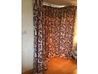 3 Pairs of cream and red lined curtains