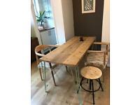 Reclaimed scaffolding board hair pin leg dining table 160 x 65cm