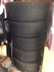 Set of 6 - 16 inch car alloy wheels with tyres - used