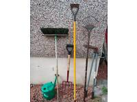 Garden hand tools 6items fork,rake,hoe,edgers,brush,watering can