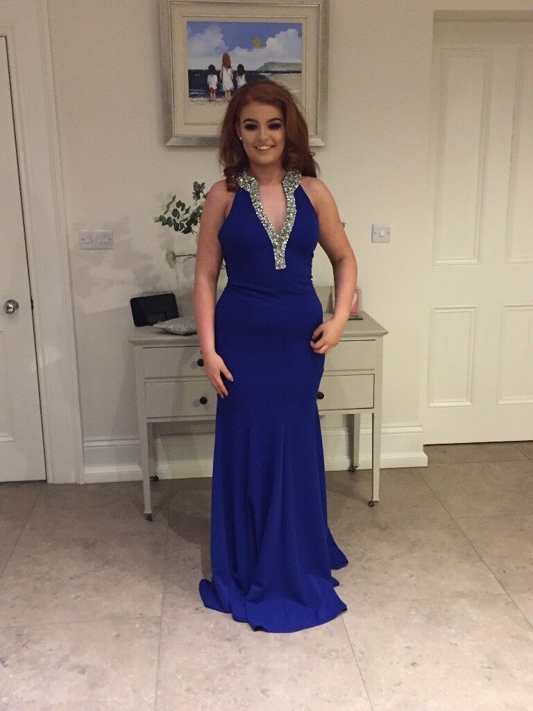 Gorgeous cobalt blue formal dress for sale.