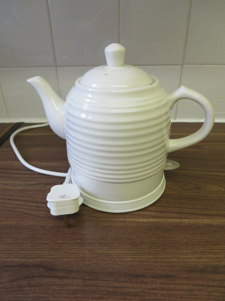 Electric White Cream Ceramic Kettle 1 3l Dunelm Mill
