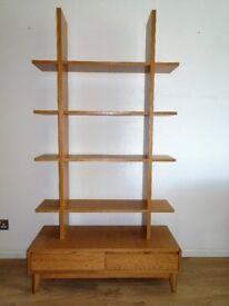 Oak 2 drawer and 4 open shelf unit - AS NEW