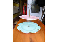 Vintage Royal Winton Grimwades 2 tier cake stand pink and green