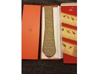 GENUINE MENS HERMES 100% SILK TIE BOXED